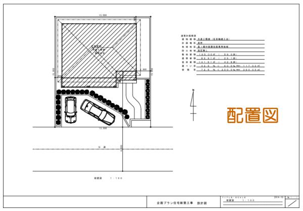 敷地配置図. 建物の位置は、敷地の境界からの距離が記載されるので、確認できます。この距離が狭すぎないか確認するのは1つのチェックポイントとなります。